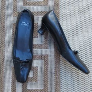 Stuart Weitzman | Black Leather | Bow Kitten Heels